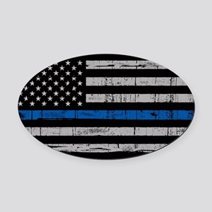 The thin blue line stressed flag Oval Car Magnet