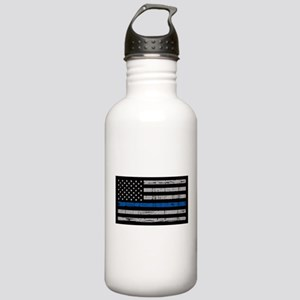 The thin blue line stressed flag Water Bottle