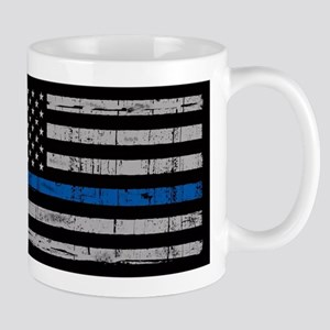 The thin blue line stressed flag Mugs