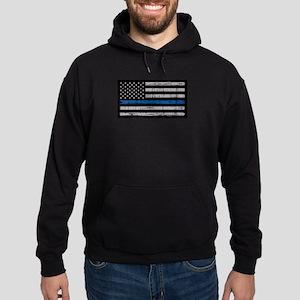 The thin blue line stressed flag Sweatshirt