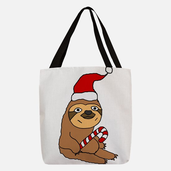 Funny Sloth in Santa h at Chris Polyester Tote Bag