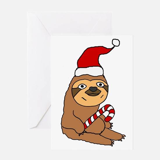 Funny Sloth in Santa h at Christmas Greeting Cards