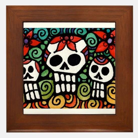 Day of the Dead Floral Sugar Skulls Framed Tile
