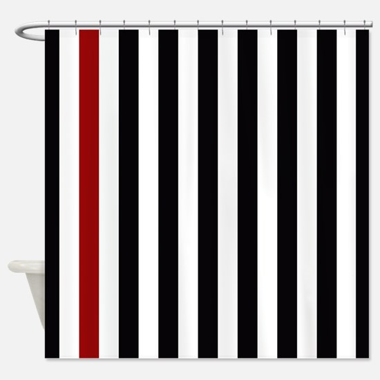 With A Red Stripe Shower Curtain