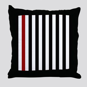 With A Red Stripe Throw Pillow