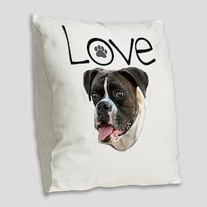 Love Boxer Burlap Throw Pillow