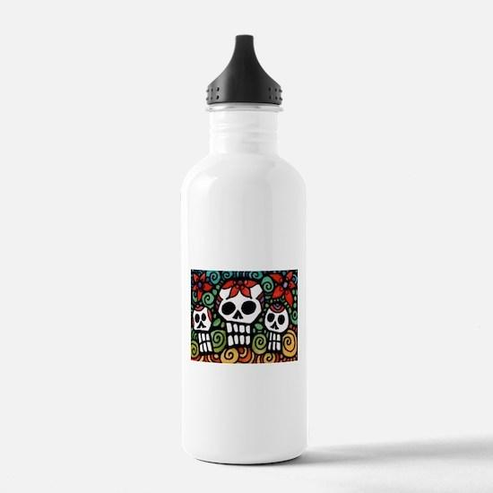 Day of the Dead Floral Sugar Skulls Water Bottle