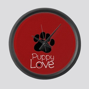Paw Puppy Love Large Wall Clock