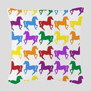 Horses Woven Throw Pillow