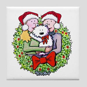 Westie Family Christmas Tile Coaster
