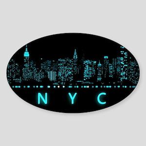 Digital Cityscape: New York City, N Sticker (Oval)