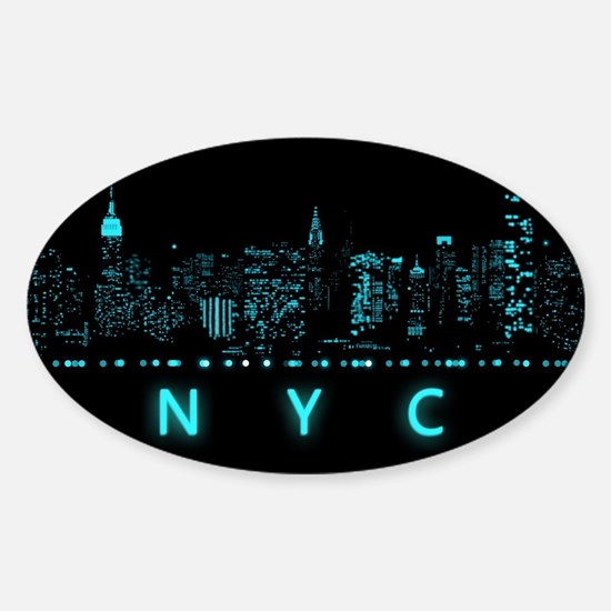 Digital Cityscape: New York City, N Sticker (Oval)
