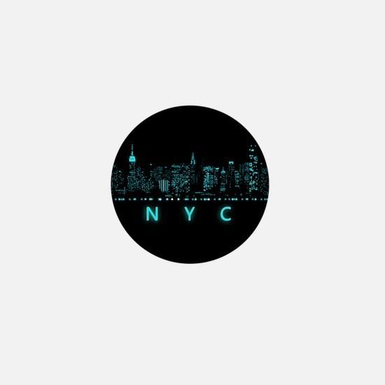 Digital Cityscape: New York City, New Mini Button