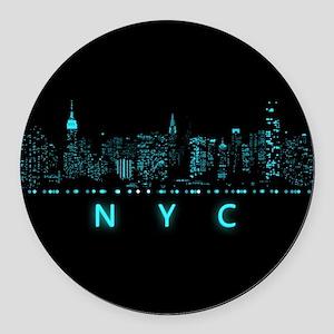 Digital Cityscape: New York City, Round Car Magnet