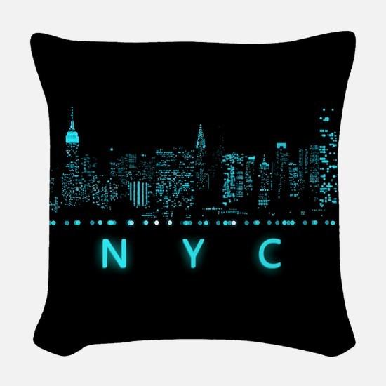 Digital Cityscape: New York Ci Woven Throw Pillow