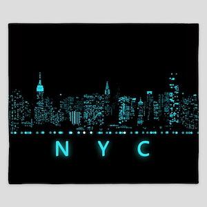 Digital Cityscape: New York City, New Y King Duvet