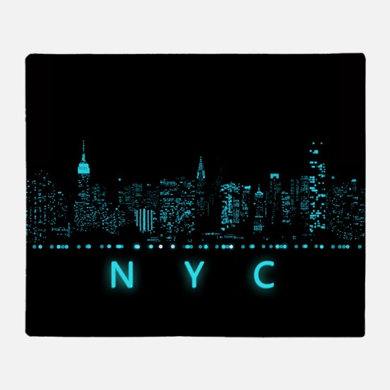 Digital Cityscape: New York City, Ne Throw Blanket