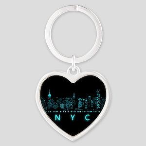 Digital Cityscape: New York City, N Heart Keychain