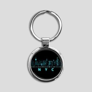 Digital Cityscape: New York City, N Round Keychain