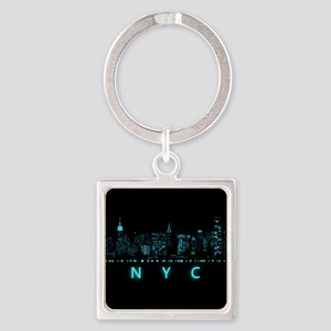 Digital Cityscape: New York City, Square Keychain