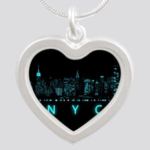 Digital Cityscape: New York Silver Heart Necklace