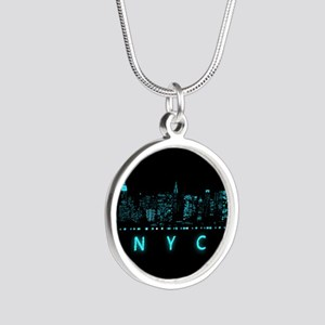 Digital Cityscape: New York Silver Round Necklace