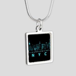 Digital Cityscape: New Yor Silver Square Necklace