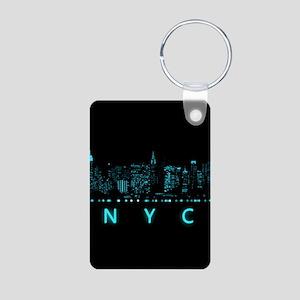 Digital Cityscape: New Yor Aluminum Photo Keychain
