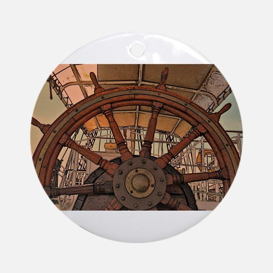 The Ships Wheel Ornament (Round)