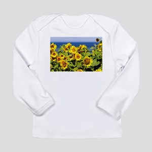 Lot of sunflowers by the sea Long Sleeve T-Shirt