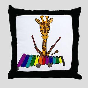 Giraffe Playing Xylophone Throw Pillow