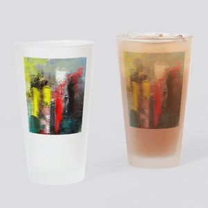 Painting, of City in Yellow, Red, A Drinking Glass
