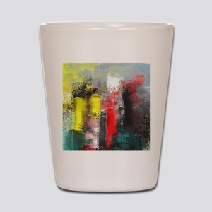 Painting, of City in Yellow, Red, Aqua Shot Glass