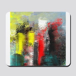 Painting, of City in Yellow, Red, Aqua Mousepad