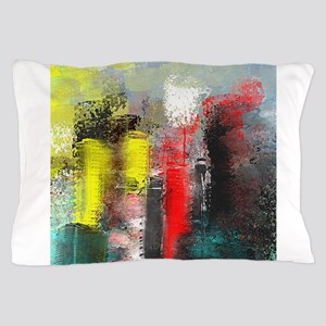 Painting, of City in Yellow, Red, Aqua Pillow Case