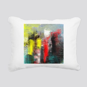 Painting, of City in Yel Rectangular Canvas Pillow