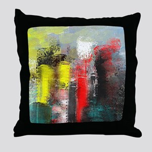 Painting, of City in Yellow, Red, Aqu Throw Pillow