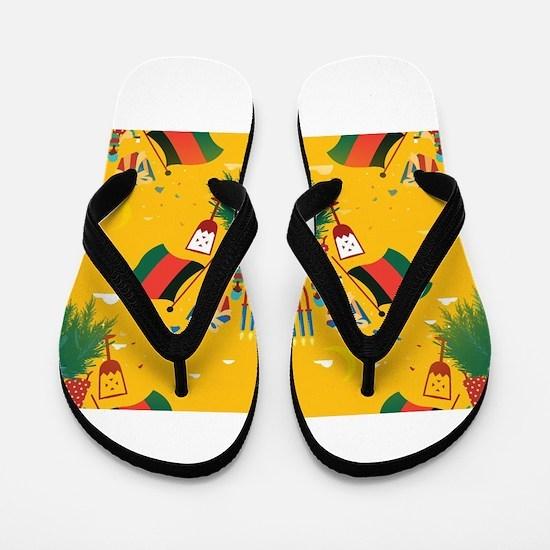 yellow kwanzaa Flip Flops