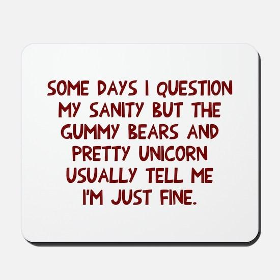 Gummy bears and unicorn Mousepad