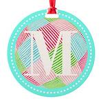Personalizable Monogram Teal Pink Ornament