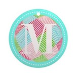 Personalizable Monogram Teal Pink Ornament (Round)