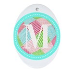 Personalizable Monogram Teal Pink Ornament (Oval)