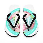 Personalizable Monogram Teal Pink Flip Flops