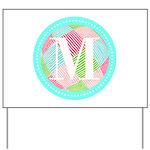 Personalizable Monogram Teal Pink Yard Sign