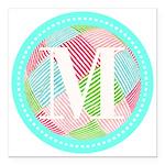 Personalizable Monogram Teal Pink Square Car Magne