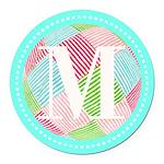 Personalizable Monogram Teal Pink Round Car Magnet