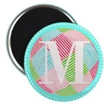 Personalizable Monogram Teal Pink Magnets