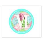 Personalizable Monogram Teal Pink Posters
