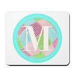 Personalizable Monogram Teal Pink Mousepad