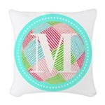 Personalizable Monogram Teal Pink Woven Throw Pill